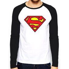 Superman - Baseball Shirt Tshit Long Sleeve Logo