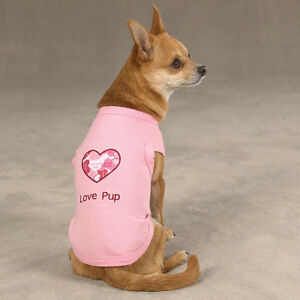 Casual Canine LOVE PUP TANK Stretchy Embroidered Trim Heart-Shaped Appliqué