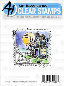 Halloween House Window To The World CLEAR Stamp ART IMPRESSIONS M5051 New