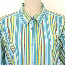 Avenue Women's 22/24 2X Stripe Button Front Blouse Cotton Stretch Tab Sleeves