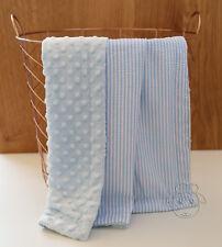 Blue Seersucker Dot Minky Baby Blanket Stroller Pram Crib Shower Gift
