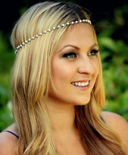 Bohemian Women Metal 5mm Imitation Pearl Elastic Bands Head Chain Band