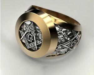 Masonic Ring Freemason Men's Stainless Steel Crystal Gold Mason G Pillar US 7-14