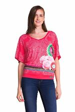 Desigual imperio rojo rosa con dibujos Stretch Confort Top Blusa Super UK12 M BNWT