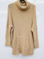 C Yellow Med-Knit Front Pockets Long Sleeve Cowl-Neck Sweater - Women's XL