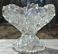 Vintage Small Pressed Glass Hobstar and Arches Sawtooth Rim Compote