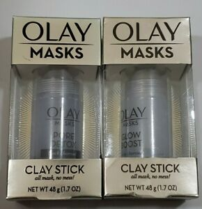 Olay Clay Stick Glow Boost Face Mask White Charcoal Facial Cleanser~~Lot of 2~~