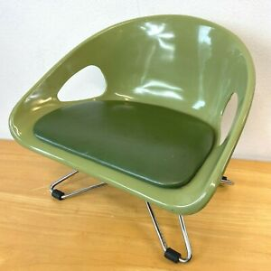 Vintage Cosco Toddler Chair Booster Padded Seat Hairpin Legs Avocado Green CSH