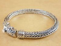 "New Bali Tulang Naga Foxtail Franco Wheat 925 Sterling Silver Bracelet 7.75"" 42g"