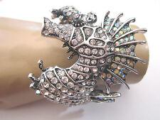 Damen Strass Armspange Armreif Armband Silber Klar Kristall XL Seepferdchen