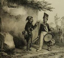 N.CHARLET (1792-1845), Straßenjunge diskutiert mit jungem Militärtrommler, Lith.