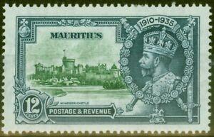 Mauritius 1935 12c Green & Indigo SG246f Diag Line by Turret V.F Very Lightly