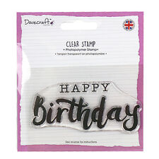 Dovecraft GRANDE SELLO DE POLÍMERO TRANSPARENTE Happy Birthday - Tarjetas