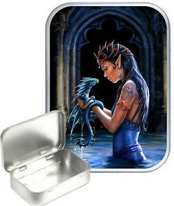 Blue Fairy Dragon Pool Small Silver Hinged Gift Tin, 30ml Hinged Tobacco Tin