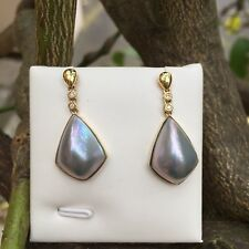 Earrings Doublet Opal Set in Sliver 925 Coated With Rhodium Lovely Gift