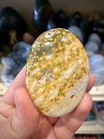 "Ocean Jasper Rock Healing Crystals Yoga Reiki Meditation Palm Stone 3x2"" ZENDA"