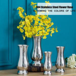 Stainless Steel Silver Luxury Flower Vase Urn Wedding Table Centrepiece 19/23CM