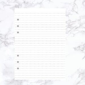 A5 PLANNER ORGANISER INSERT REFILL RULED WHITE 100GSM PAPER FILOFAX KIKKI COMP