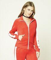 Forever 21 Womens Velour Velvet Full Zip Up Track Jacket Red White Pockets Sz S