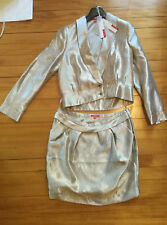 tailleur jupe doré ELLE neuf T 42 veste boléro or (réveillon, soirée, mariage)