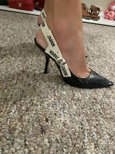 Dior J'Adior Black Patent Leather Bow Pump Slingbacks size 37US/EU
