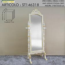 Specchiera stile barocco ballerina da terra in legno crema e oro st146318