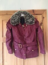 Barbour Jacket With Detachable Fur Collar - Red UK Size 10