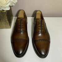 Magnanni Mens Brown Leather Dress Casual Cap Toe Oxford Shoes Size 8.5 M