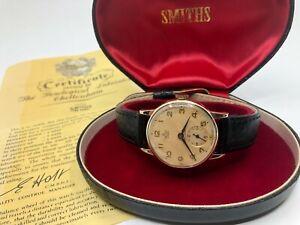 Vintage 9k 9ct Solid Gols Smiths De Luxe Mens Watch + Box (Serviced + Warranty)