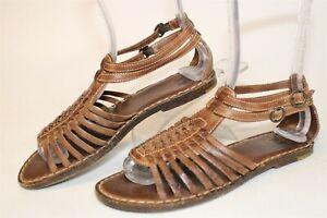 Frye Womens Size 7 B Kayla Leather Buckle Huarache Flat Sandals Shoes 78230