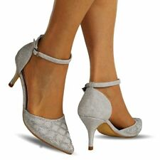 NEW Ladies Diamante Ankle Strap Party Bridal Low Mid Heel Court Shoe Size 24-26