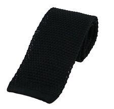 Men's Plain Black Silk Knitted Tie (N997/19)