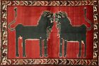 Vintage Animal Pictorial Vegetable Dye Tribal Area Rug Hand-knotted Oriental 4x6