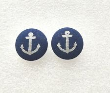 """New Handmade Fabric Stud Button Earrings, about 1"""", Silver Anchor on Navy Blue"""