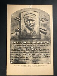 George Herman Babe Ruth 1953-55 Artvue HOF Plaque Postcard New York Yankees