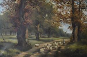 A Shepherd Leading Sheep to Market Antique Oil Painting Charles Vickers c1870/80