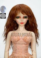 "7-8"" 1/4 BJD Golden Brown Curly Wavy Wig LUTS Doll SD DZ MSD Soom Hair +Cap #UAL"