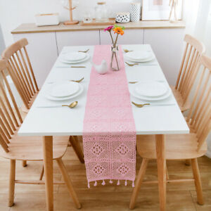 Retro Cotton Crochet Table Runner with Tassels Coffee Table Decortive Wedding