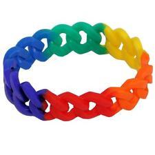 Gay Pride Rainbow Wide Silicone Link Bracelet Punk Chunky Stretchy LGBTQ Resist