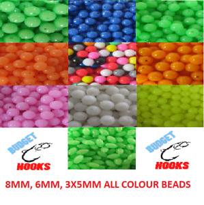 Sea fishing beads, all colours available, 6mm,8mm & 3x5mm Rig Making Coarse