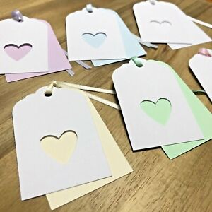 6 Handmade Simple Love Heart Double Layer Pastels Gift Tags - Birthday Thank You
