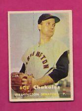 1957 TOPPS # 261 SENATORS BOB CHAKALES  EX-MT CARD (INV# A5019)