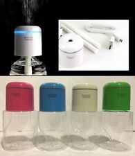 Green Portable Steam USB Humidifier Cap Air Mist Diffuser LED w Water Bottle Box