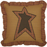STRATTON Applique Star Filled Pillow Tan//Red/Black Primitive Rustic 12x12 VHC