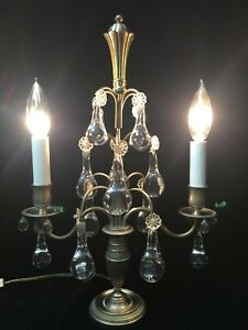 Vintage France 16 Clear Round Murano Glass Teardrops 2 Lights Table Lamp