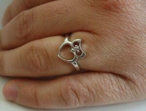 OPEN HEART OWL RING / 925 STERLING SILVER / /SZ 5,6,7,8,9 AVAILABLE
