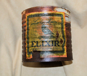 Halloween Naturally RUSTED coffee can decoupaged Halloween WITCH decor