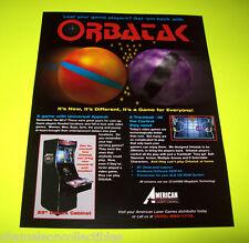 ORBATAK By AMERICAN LASER GAMES 1994 ORIGINAL NOS VIDEO ARCADE GAME SALES FLYER