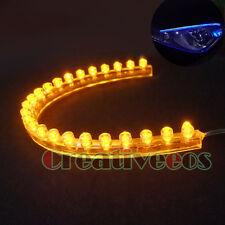 4Pcs 24CM PVC LED CAR TRUCK FLEXIBLE LIGHT STRIP YELLOW
