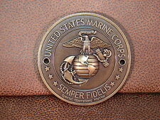 U.S.M.C MARINE CORPS  BRASS PLATED GRILL BADGE MEDALLION